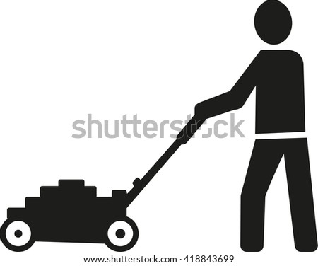 commercial lawn mower silhouette. lawn mower man pictogram commercial silhouette