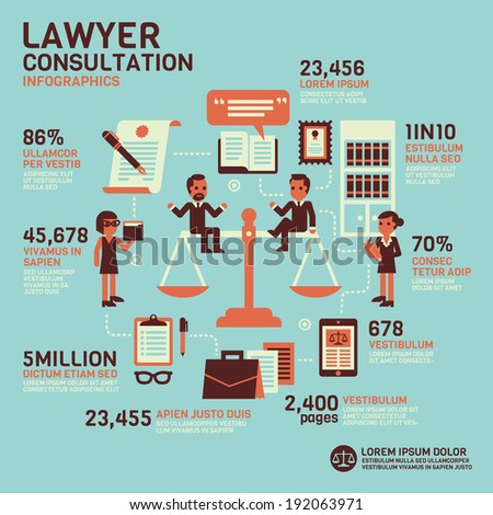 Lawyer Consultation Infographics - stock vector