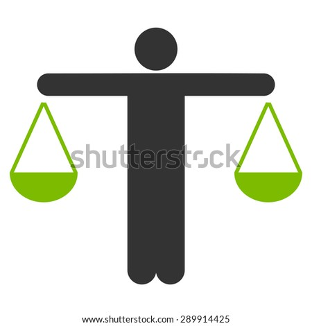 Lawyer icon from Business Bicolor Set. This flat vector symbol uses eco green and gray colors, rounded angles, and isolated on a white background. - stock vector