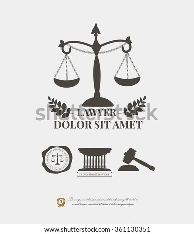 Lawyer logos set, law firm labels and emblems. justice scale, hammer, seal wax stamp - stock vector