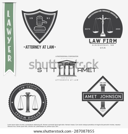 Lawyer services. Law office. The judge, the district attorney, the lawyer set of vintage labels. Scales of Justice. Typographic labels, stickers, logos and badges. Flat vector illustration