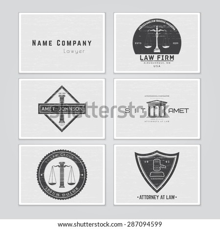 Lawyer services. The judge, the district attorney, the lawyer set of vintage labels. Scales of Justice. Typographic labels, stickers, logos and badges. Flat vector illustration