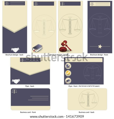 lawyer template design - brochure design, flyer design and business card design in one package and fully editable. - stock vector