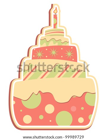 Layered Cake, Whimsical layered cake with candle - stock vector