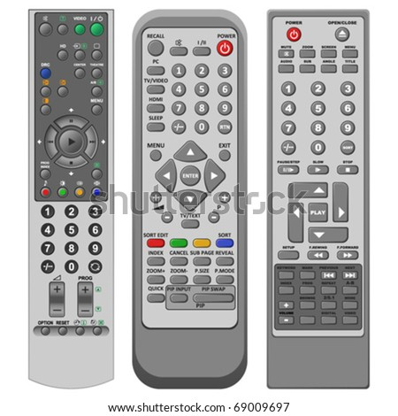 Layered illustration set of different remote controller in vector. - stock vector