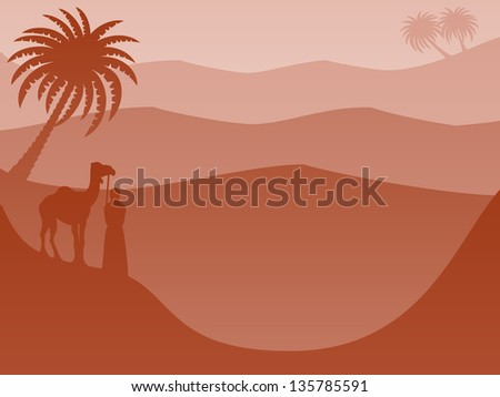 Layered Landscape Background: Desert Red - Warm, tranquil, serene desert landscape wallpaper or background. Monochrome layered silhouettes feature a camel & friend, palm trees and rolling sand dunes. - stock vector