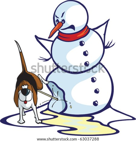 Layered vector file of a cartoon snowman and a relieved dog. - stock vector