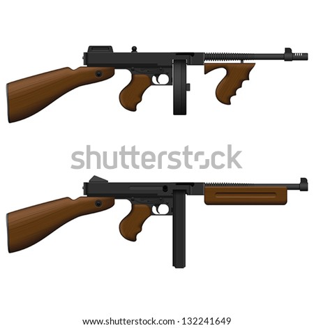 Layered vector illustration of antiquated American Machine Gun. - stock vector