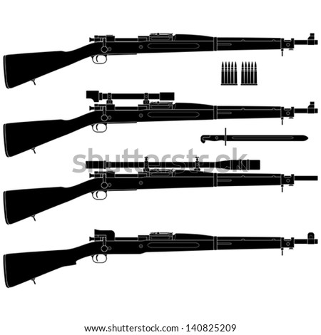 Layered vector illustration of antique American Rifle. - stock vector