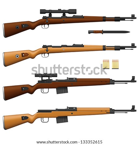 Layered vector illustration of antique German Rifle.