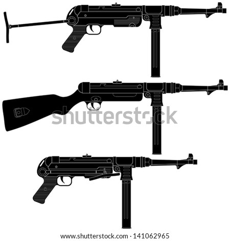 Layered vector illustration of antique Germany  Machine Pistol. - stock vector