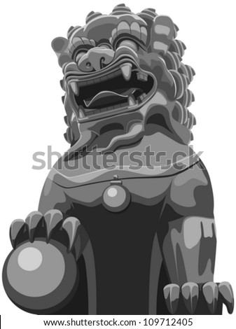 Layered Vector Illustration Of Chinese Traditional Lion Pattern.