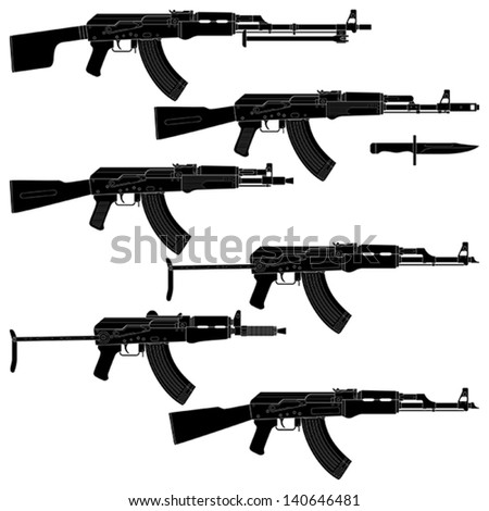 Layered vector illustration of collected  Assault rifles. - stock vector