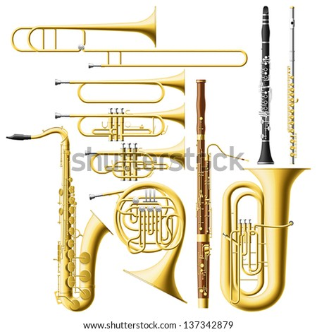 Layered vector illustration of collected Wind Instruments.
