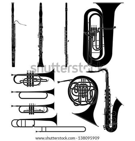 Layered vector illustration of collected Wind Instruments. - stock vector