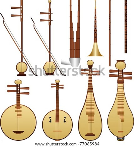 Layered vector illustration of different kinds of Chinese Musical Instruments. - stock vector