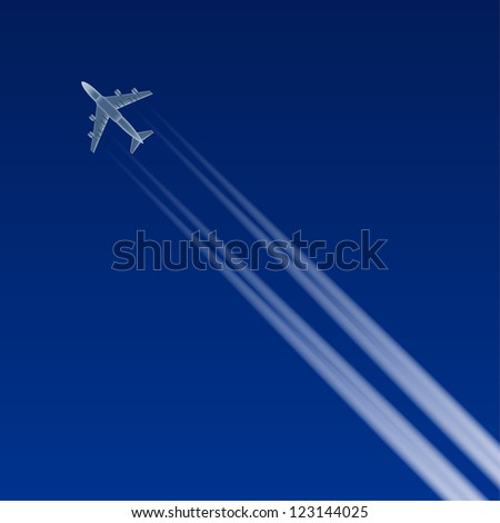 Layered vector illustration of flying airplane. - stock vector