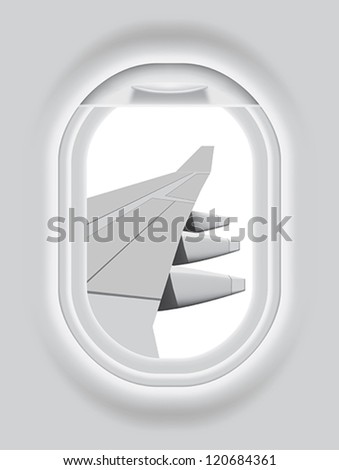 Layered vector illustration of isolated Aircraft s Porthole with white background. - stock vector