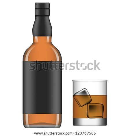 Layered vector illustration of isolated glass and bottle of liquor.