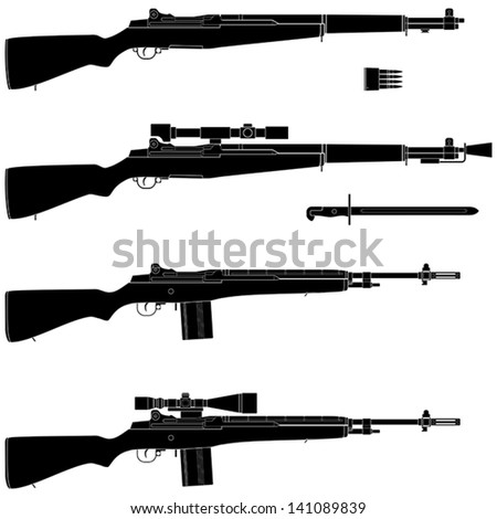 Layered vector illustration of isolated Rifle. - stock vector