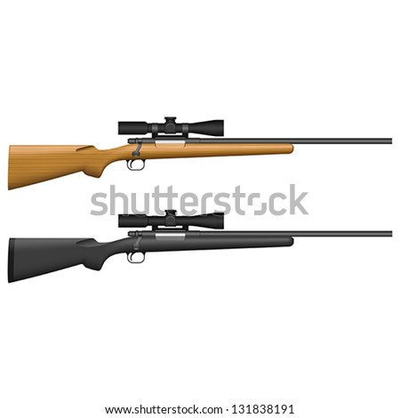 Layered vector illustration of isolated Sniper Rifle. - stock vector