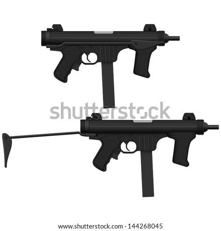 Layered vector illustration of Machine Pistol. - stock vector