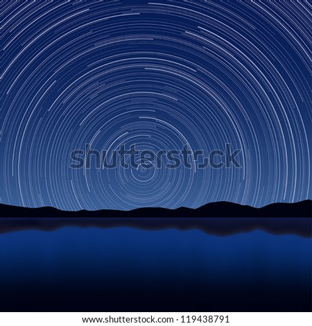 Layered vector illustration of Star Trail with long exposure effect. - stock vector