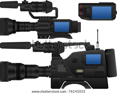 Layered Vector Illustration Of Three Kinds Of Video Camera. - stock vector