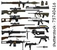 Layered Vector Illustration Of Various Weapons. - stock photo