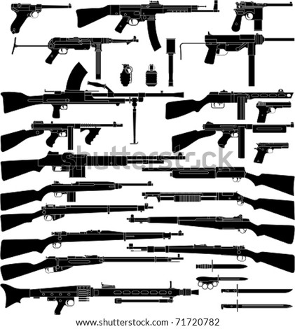 Layered vector illustration of various weapons which mainly be used in World War II.