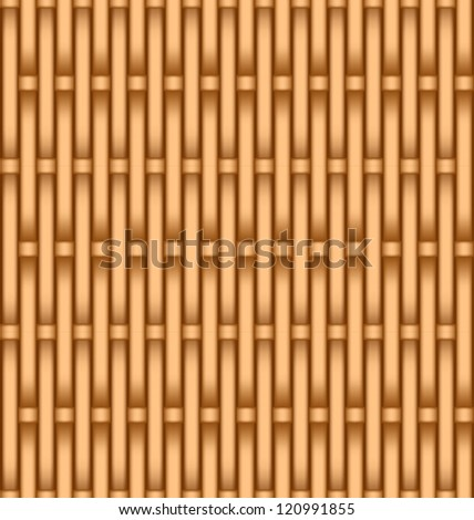Layered vector illustration of wooden textured basket weaving background. - stock vector
