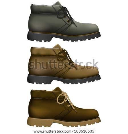 Layered vector illustration of Work Boots with different color. - stock vector