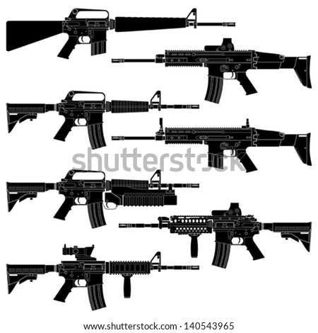 Layered vector illutration of collected American Carbines. - stock vector