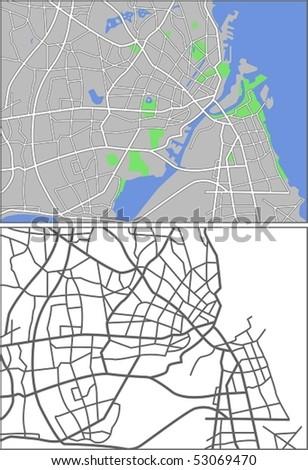 Layered Vector Map Of Copenhagen. - stock vector