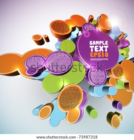 Layout Design on Abstract 3D Structures - stock vector