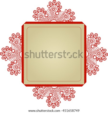 Layout invitation card with damask pattern  for weddings and other celebrations. Suitable for laser cutting. Open envelope. - stock vector