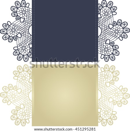Layout invitation card with floral pattern in blue and gold for weddings and other celebrations. Suitable for laser cutting. Open envelope. The front and rear side - stock vector