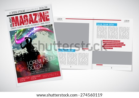 Layout magazine cover, vector - stock vector