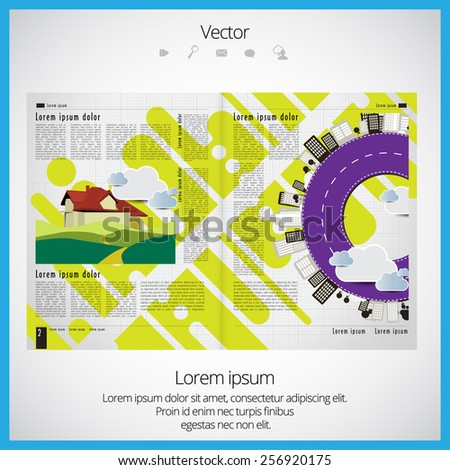 Layout magazine, vector  - stock vector