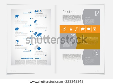 Layout magazine with infographic elements, vector  - stock vector