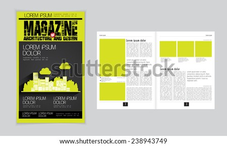 Layout of cover and magazine. Vector
