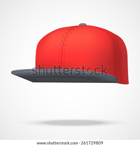 Layout of Male color rap cap. A template simple example. Editable Vector Illustration isolated on white background. - stock vector