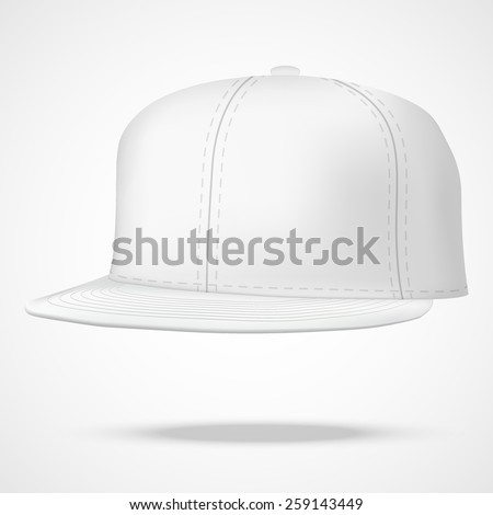 Layout of Male white rap cap. A template simple example. Editable Vector Illustration isolated on white background. - stock vector