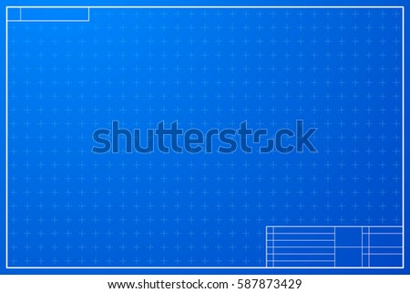 Blank blueprint paper drafting drawing sheet stock vector layout template in blueprint style with marks malvernweather Images