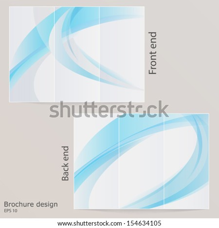 Layout tri-fold brochure. Design with blue by waves. EPS 10 - stock vector