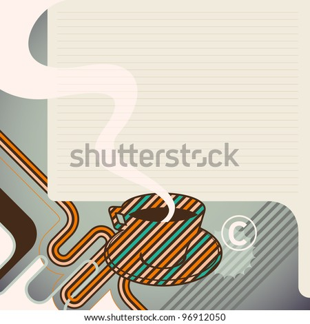 Layout with colorful cup of coffee. Vector illustration. - stock vector