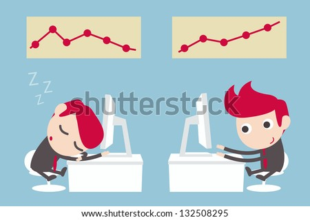 lazy and hardworking businessman - stock vector