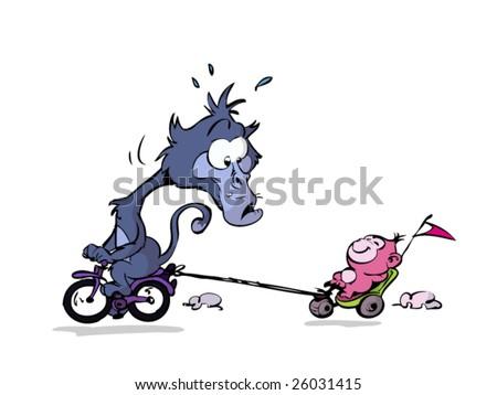 Lazy kid monkey on bike - stock vector