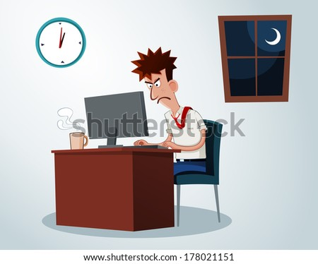 lazy office worker get grumpy when working overtime - stock vector