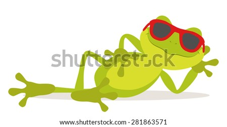 Lazy relax frog sunbathing with glasses - stock vector